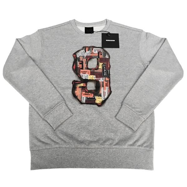 NONA9ON - [WOMEN'S] Ticket 9 Graphic Crewneck Sweatshirt (M/GY_SIZE 2 M) [16FW]