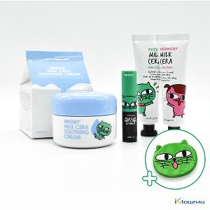[+Free Pouch] [Moisturizing Set 2] [costagram] OKCAT - MILK CERA HAND CREAM + SOOTHING CREAM + LIP BALM