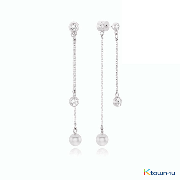 BUBBLE 2 Way Drop Earrings (WHITE GOLD)