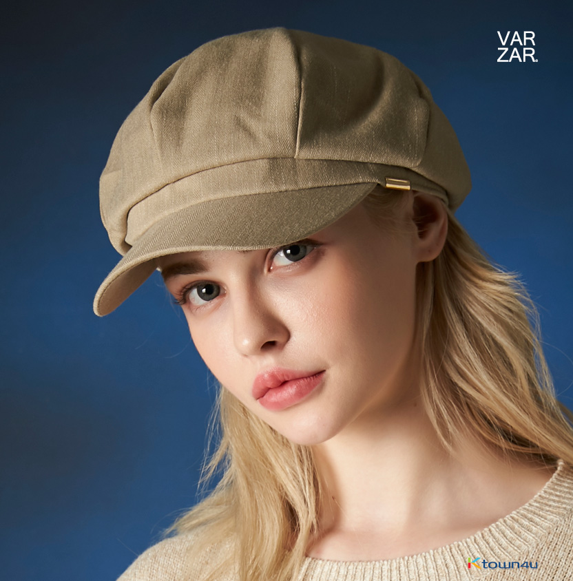 [VARZAR] Metal tip herringbone newsboy cap gray 5colors