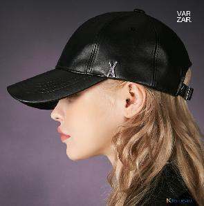 [VARZAR] Stud logo leather over fit ball cap black