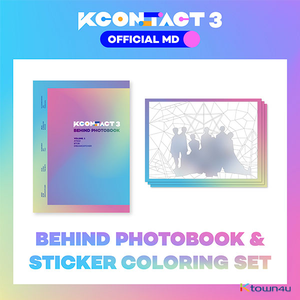ATEEZ & BTOB & DREAMCATCHER - BEHIND PHOTOBOOK + STICKER COLORING SET [KCON:TACT3 OFFICIAL MD]