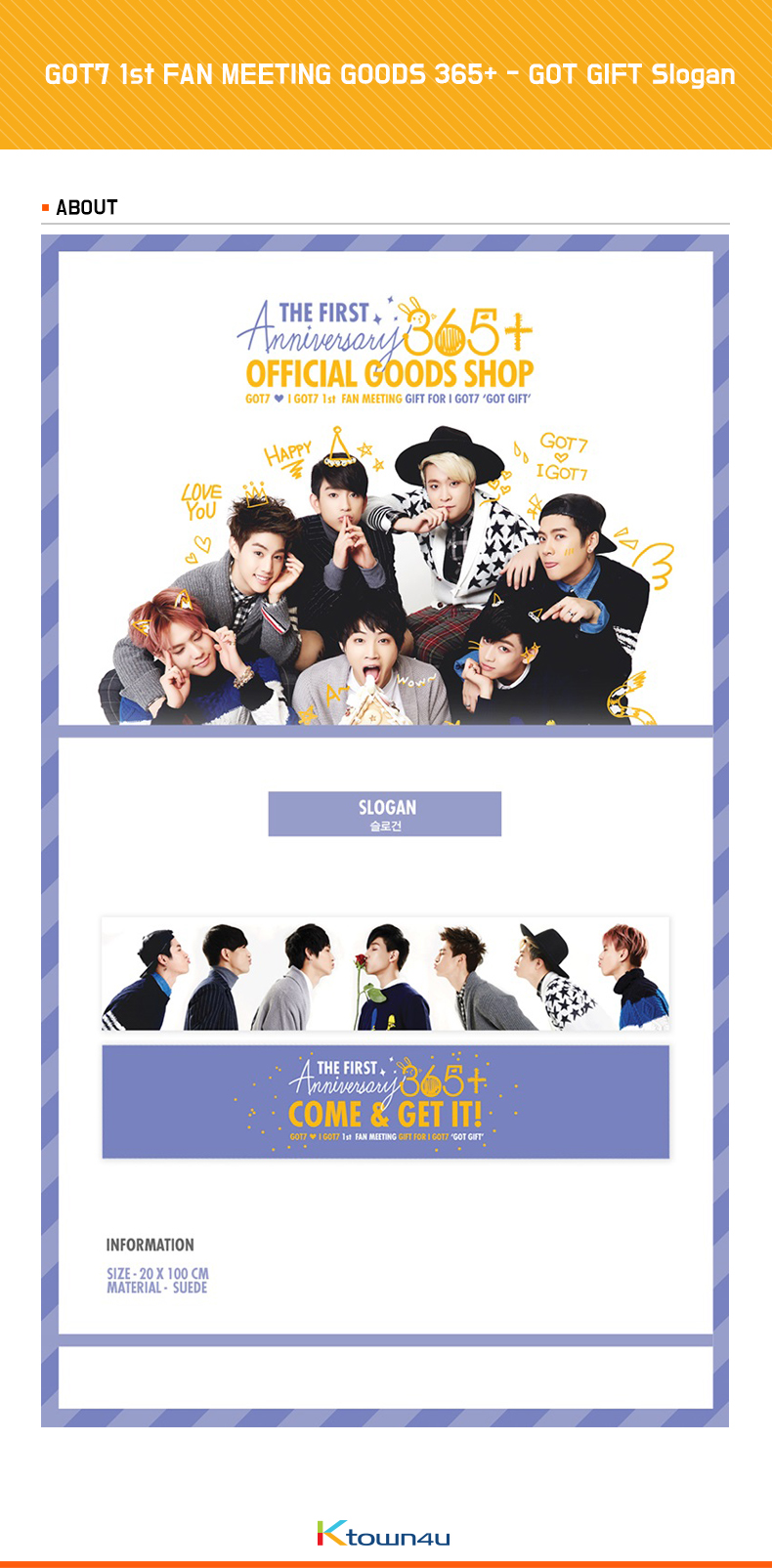 GOT7 1st FAN MEETING GOODS 365+ - GOT GIFT Slogan