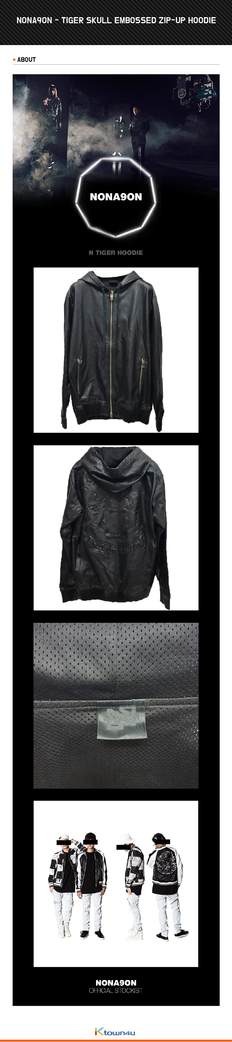 NONA9ON - [MEN'S] TIGER SKULL EMBOSSED ZIP-UP HOODIE