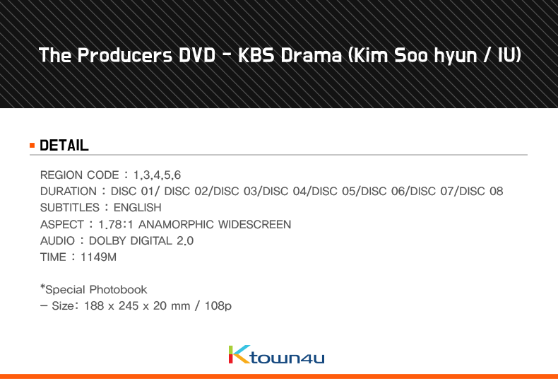 The Producers DVD - KBS Drama (Kim Soo hyun / IU)