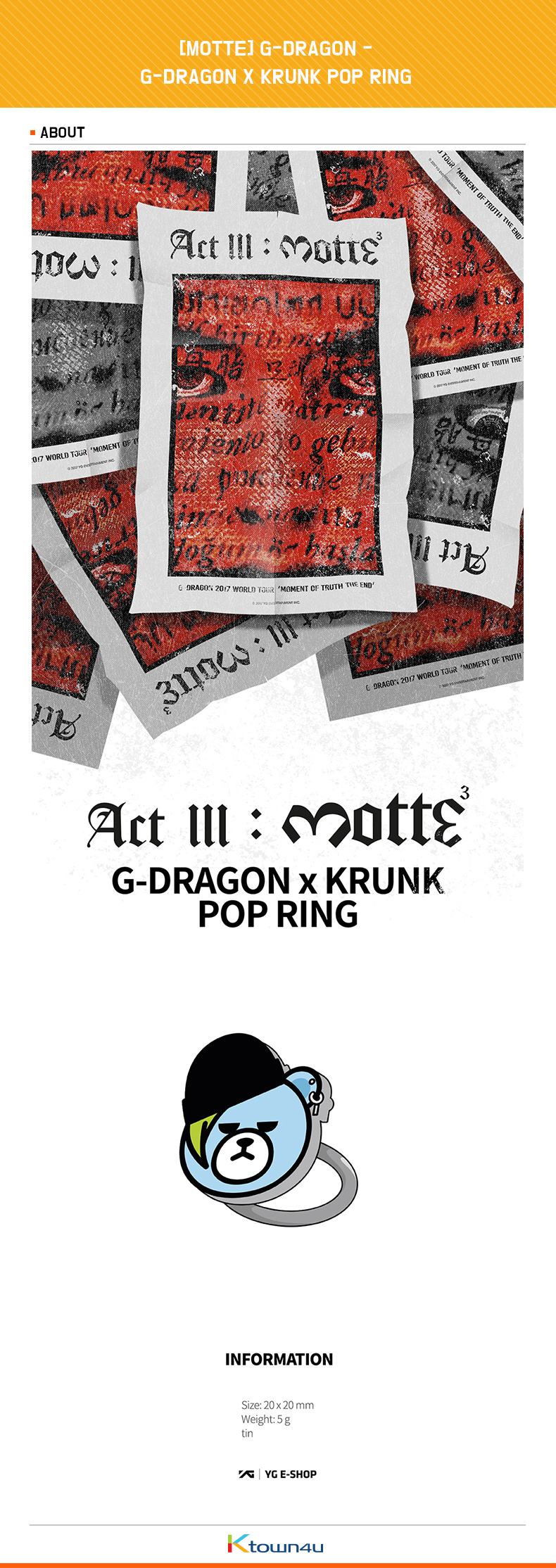[MOTTE] G-DRAGON - G-DRAGON X KRUNK POP RING  (Order can be canceled cause of producing issue)