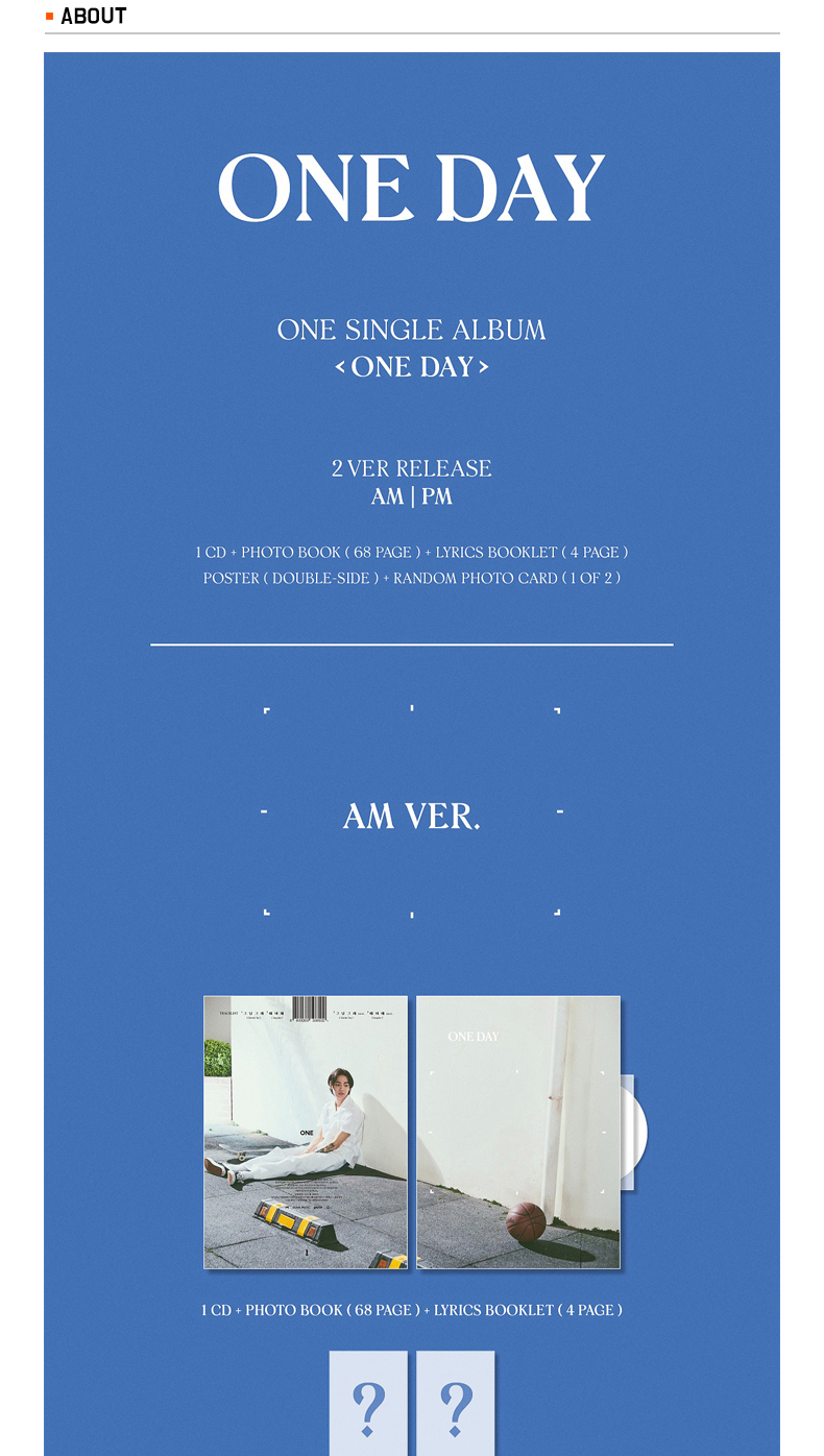 [SET][2CD + 2POSTER SET] ONE - ONE SINGLE ALBUM [ONE DAY] (AM ver.) + (PM ver.)
