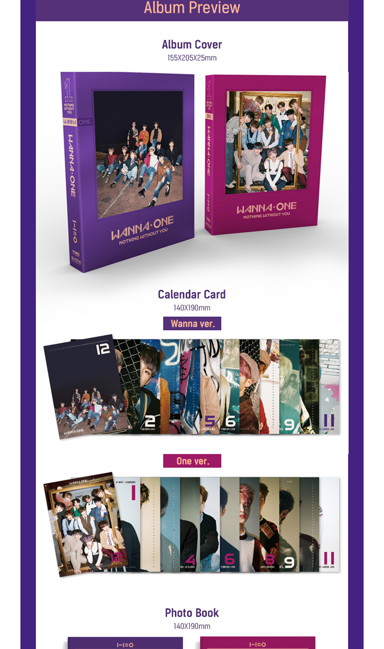[SET][2CD + 2POSTER SET] WANNA ONE - To Be One Prequel Repackage Album [1-1=0(NOTHING WITHOUT YOU)] (Wanna Ver. + One Ver.)