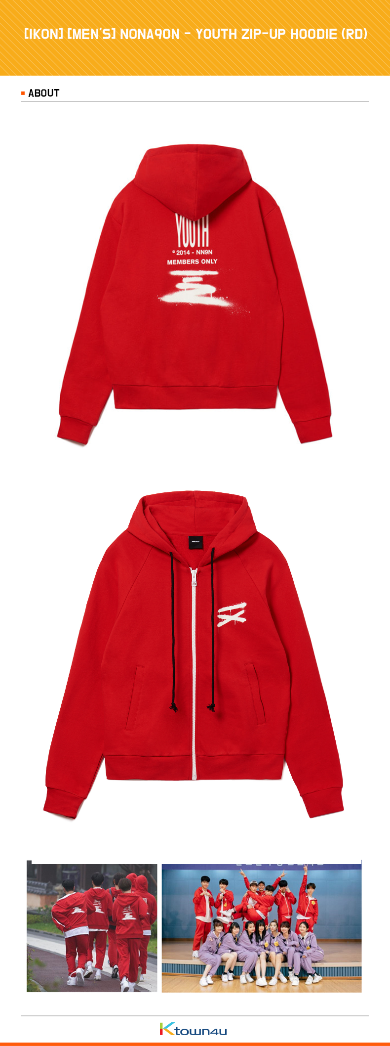 [IKON] [MEN'S] NONA9ON - YOUTH ZIP-UP HOODIE (RD)