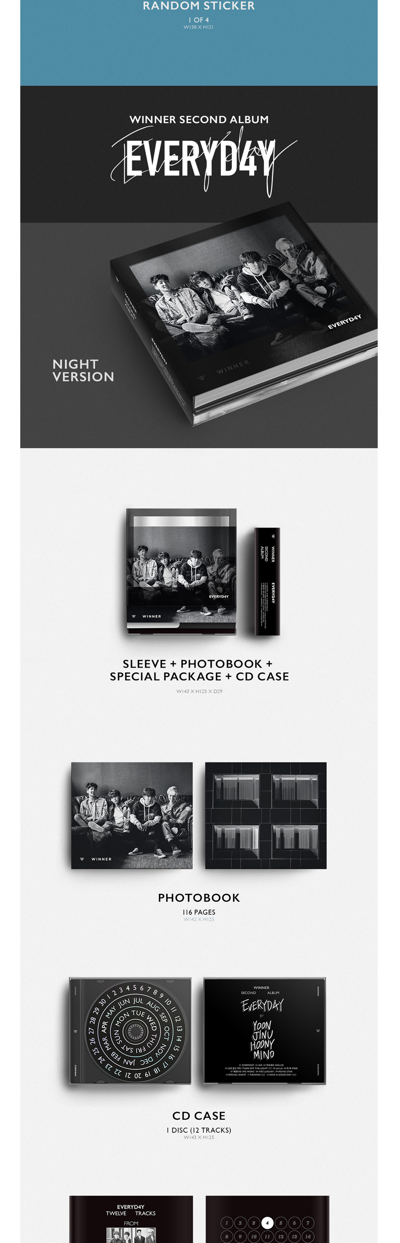 WINNER - Album Vol.2 [EVERYD4Y] (DAY Ver.) (Only Ktown4u's Special Gift: transparent photocard 2 pcs)