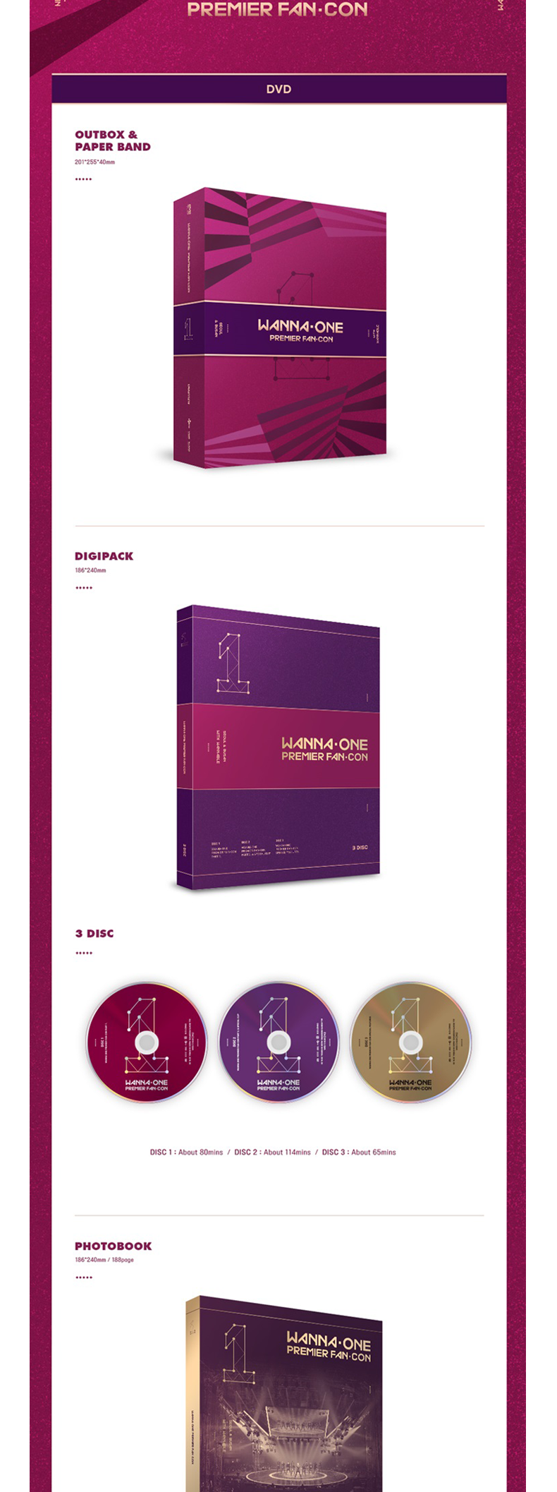 [SET][DVD + Blu-Ray + 1POSTER SET] WANNA ONE - WANNA ONE PREMIER FAN-CON DVD + Blu-Ray