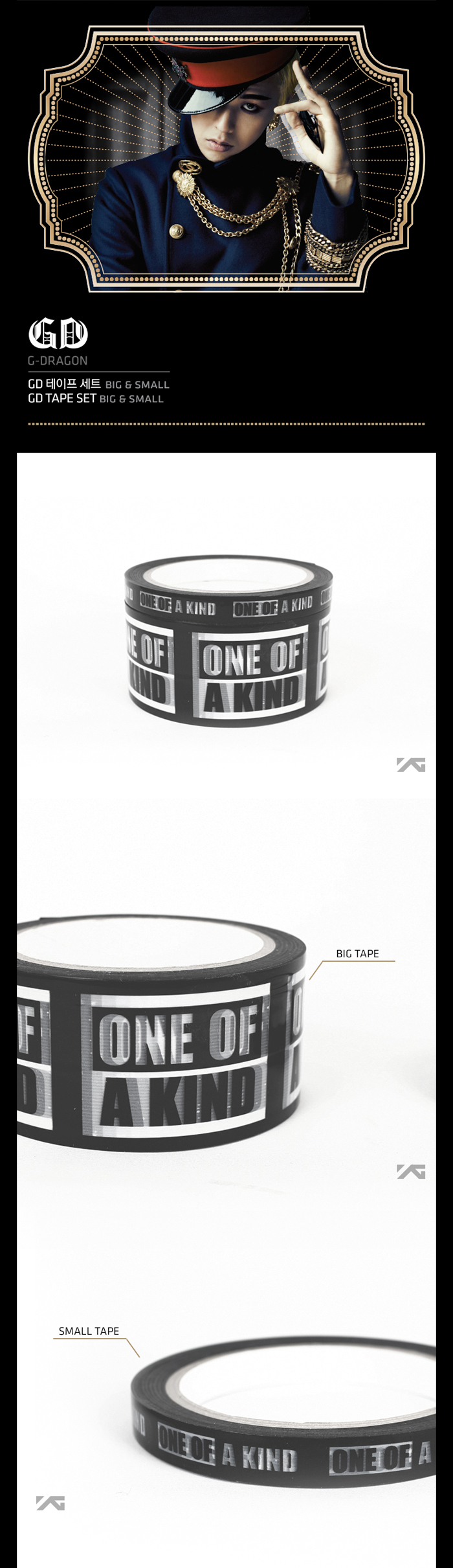 [ K-POP ] (YG Official MD) G-Dragon 2013 One Of A Kind Box tape Set