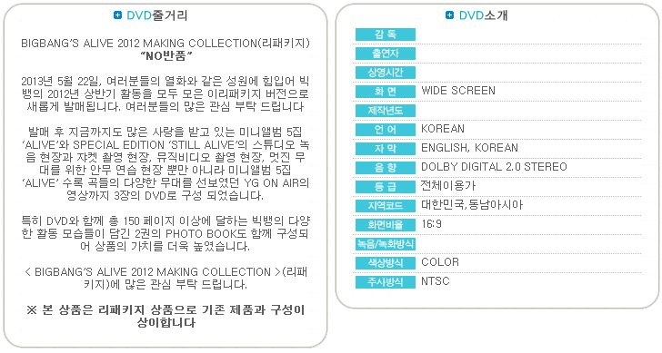 [ K-POP ] BIGBANG - Big Bang`s Alive 2012 Making Collection (3DVD+Photobook+Sticker) (Repackage)